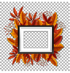 picture frame with orange leaves in background vector image vector image