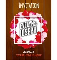 Rose petals circle Beautiful wedding invitation on vector image vector image