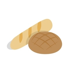 Rye bread and loaf icon isometric 3d style vector image