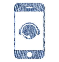smartphone operator contact head fabric textured vector image