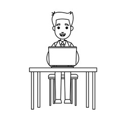 business man sitting working laptop desk vector image