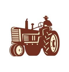 Farmer Driving Vintage Tractor Retro vector image vector image