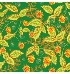 Raspberries seamless pattern with rel orange vector image vector image