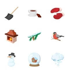 Winter holidays icons set cartoon style vector image vector image