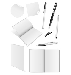 Blank writing tools and book mock-ups vector image vector image