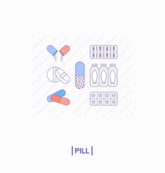 collection of different pills vector image vector image
