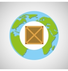 globe world delivery cardboard box vector image