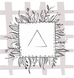 Hand drawn black ink nature frame with leaf vector image vector image