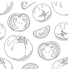 hand drawn seamless pattern with tomatoes vector image vector image