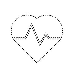 heartbeat sign black dashed vector image