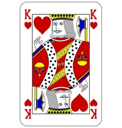 Poker playing card King heart vector image vector image