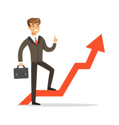 successful businessman standing on success graph vector image vector image