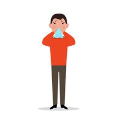 cartoon man caught cold sneeze ill flu vector image