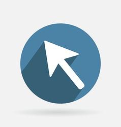 Circle blue icon with shadow web arrow vector image vector image