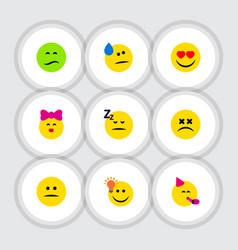 Flat icon emoji set of love asleep tears and vector