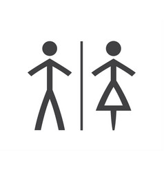simple grey and white wc symbols man and woman vector image vector image