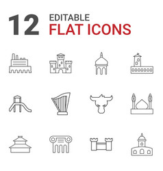 12 ancient icons vector