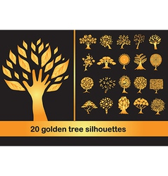 20 golden tree silhouettes vector image