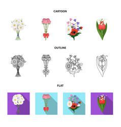 a bouquet of fresh flowers cartoonoutlineflat vector image