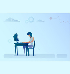 Abstract business woman sitting at office desk vector