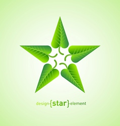 Abstract design element star with green spring vector image