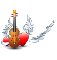 Acoustic guitar with winged heart and silver ribbo vector