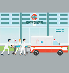 ambulance emergency medical evacuation accident vector image