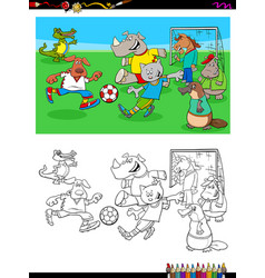 animal characters playing soccer coloring book vector image