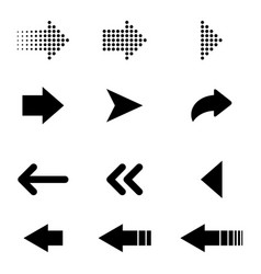 arrows black icons isolated set black arrows vector image