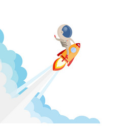 Astronaut riding a rocket and smoke through cloud vector