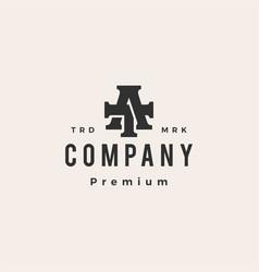at ta letter mark initial hipster vintage logo vector image