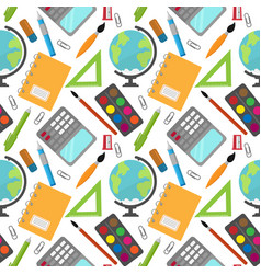 Back to school pattern with stationery and globe vector