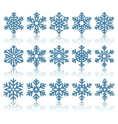 Black Flat Snowflakes Icons with Reflection vector