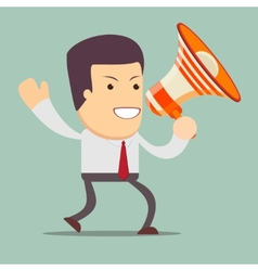 Businessman walking and talking into a megaphone vector