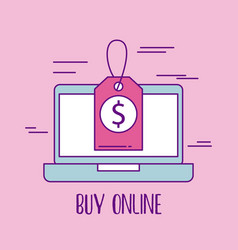 buy online laptop price tag discount offer vector image