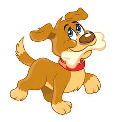 cartoon dog with bone vector image