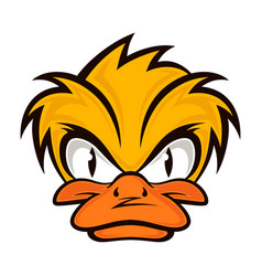 Cartoon evil face duck on the grey background vector