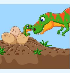 Cartoon tyrannosaurus with her baby hatching vector