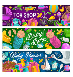Children products and toys shop banners vector