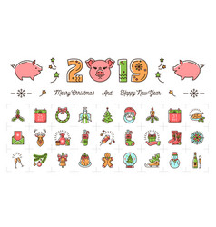 christmas and new year icons 2019 year pig vector image