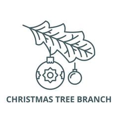 christmas tree branch line icon christmas vector image