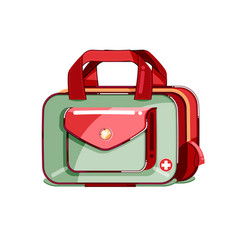 Colorful first aid medical kit adventure vector