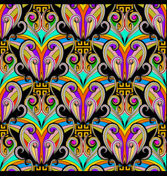 colorful floral ethnic style greek key seamless vector image