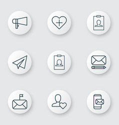 Communication icons set with follow badge vector