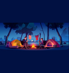 couple in camp with tent and campfire at night vector image