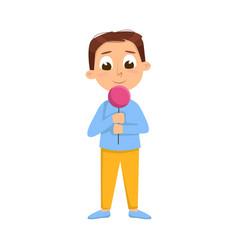 Cute boy licking candy on stick kid enjoying of vector
