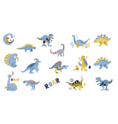 cute dinosaurs set hand drawn collection doodle vector image