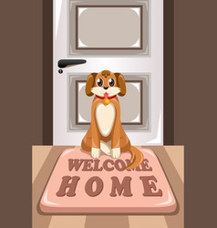 Cute dog sitting on a mat vector
