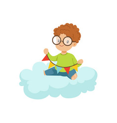 Cute little boy sitting on cloud playing with vector