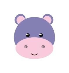 Cute little hippo animal character vector
